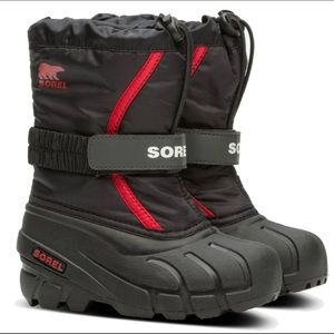 Kid's Sorel Flurry Boots Size 13 in Red and Black
